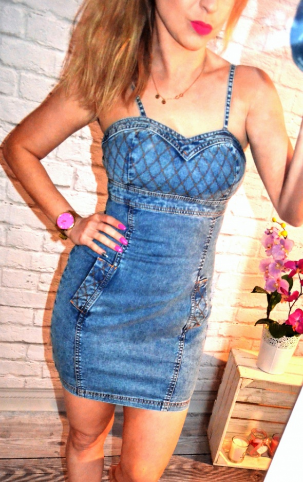Jeansowa sukienka ZIP szelki zamek