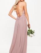 Sukienka z gołymi plecami pudrowy róż...