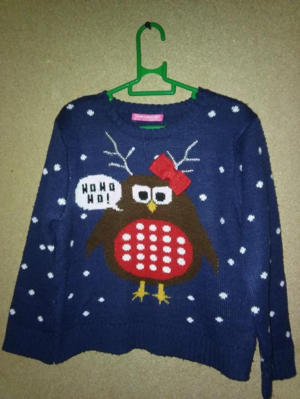 Granatowy świąteczny sweterek 128 cm 78 lat