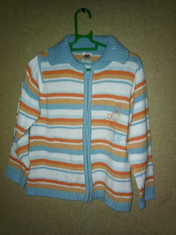 Rozsuwany sweterek dziewczęcy w pasy 104 cm 3 4 lata