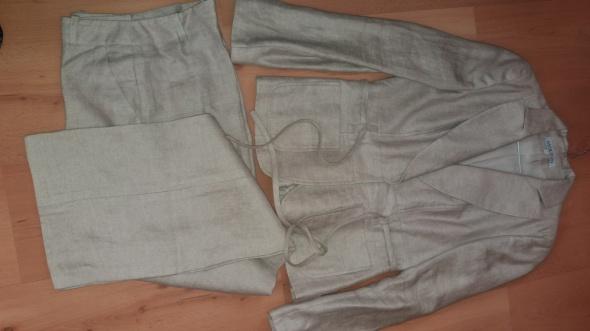 Cudny nowy garnitur Molton len 100ecru szary
