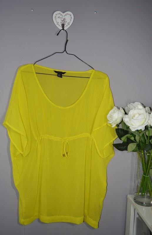 H&M cytrynowa zwiewna bluzka letnia oversize 40