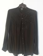 Koszula mgiełka ESMARA czarny ażurek S M L oversize