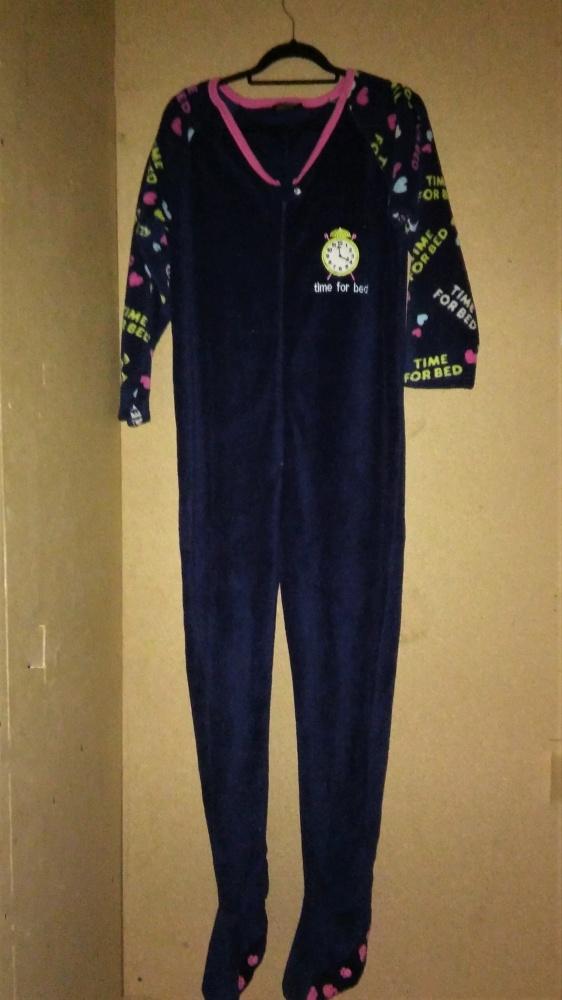 Granatwy polarowy pajac dla dorosłych piżama 36 38