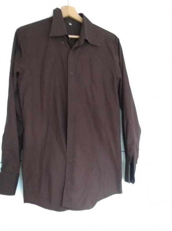 Koszula męska brązowa slim rozm 39
