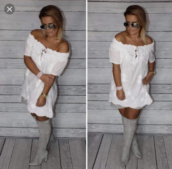 Biała tunika sukienka boho...
