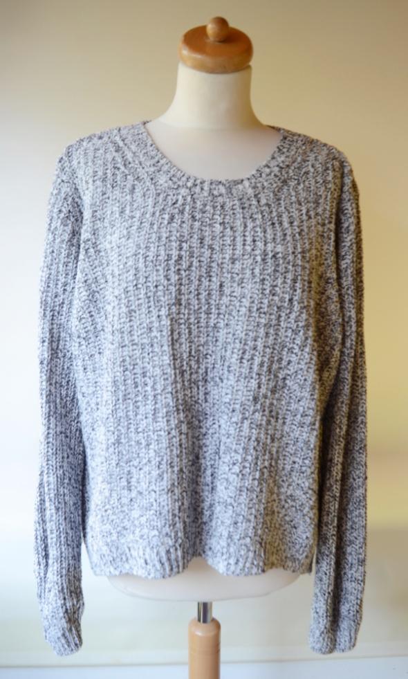Sweter Oversize H&M Melanż XL 42 Biały Czarny Przeplatany