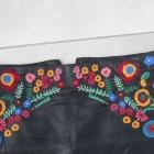 Zara skórzana mini spódniczka hafty haftowana eko skóra