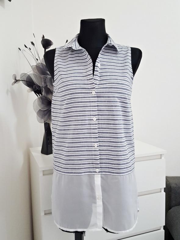 niebiesko biała bluzka w pasy z tiulem C&A