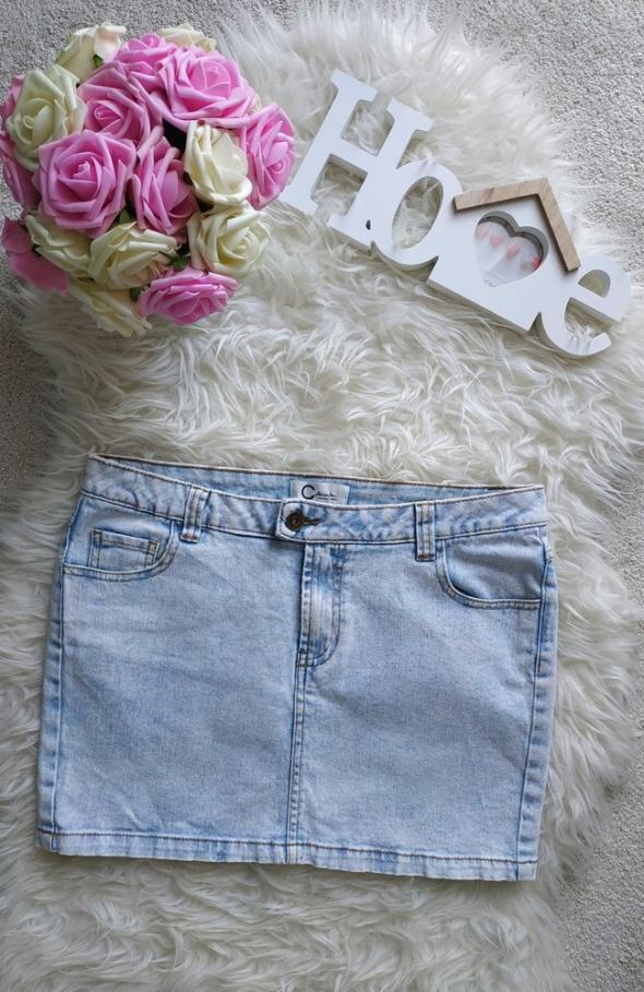Spódnica Jeasnowa mini guziki jasna M L tumblr...