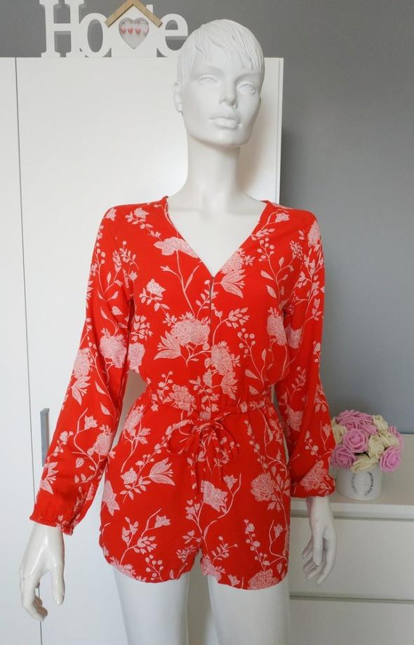 Kombinezon w kwiaty czerwony H&M sexy xs s