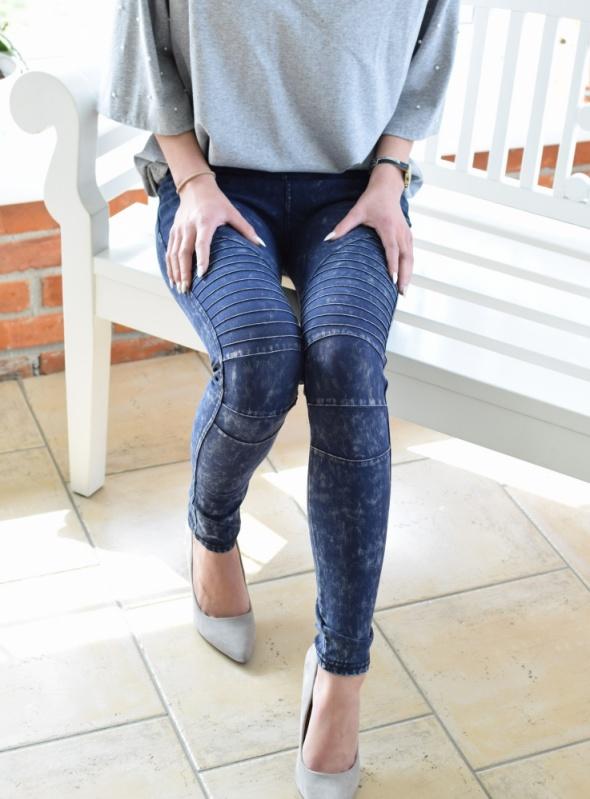 Spodnie Spodnie jeansy rurki z przeszyciami