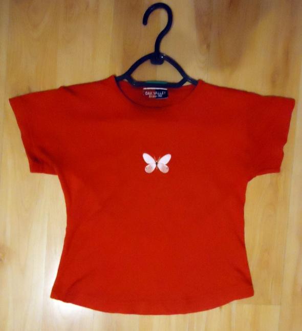 tshirt bluzka bawełniana czerwona motyl