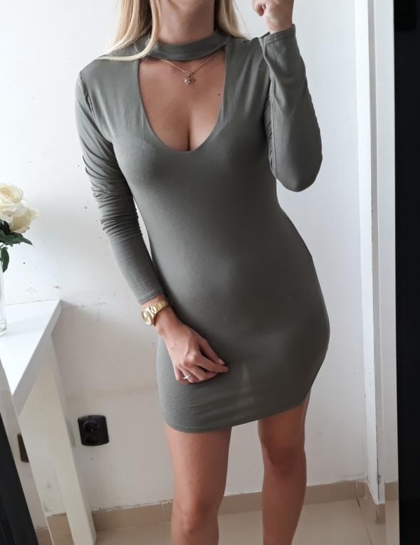 Sukienka dopasowana mini khaki choker S