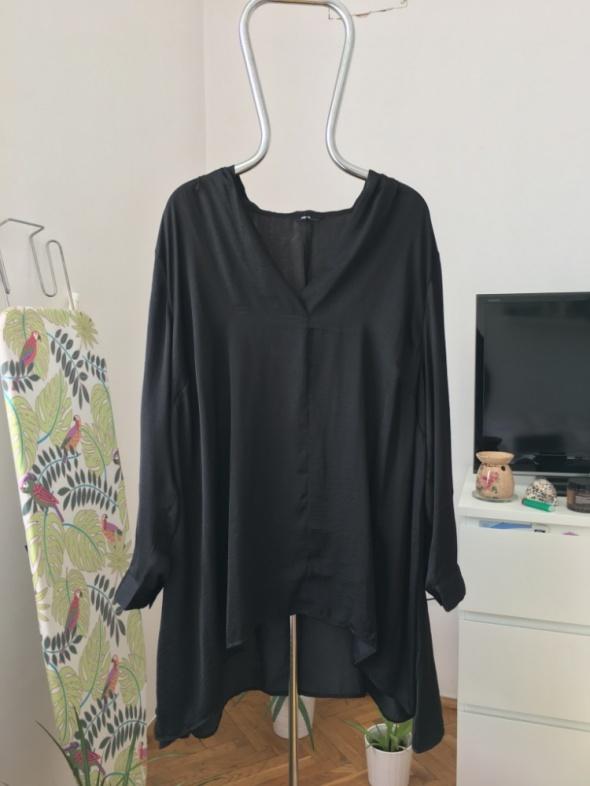Czarna tunika koszula atlasowa 48