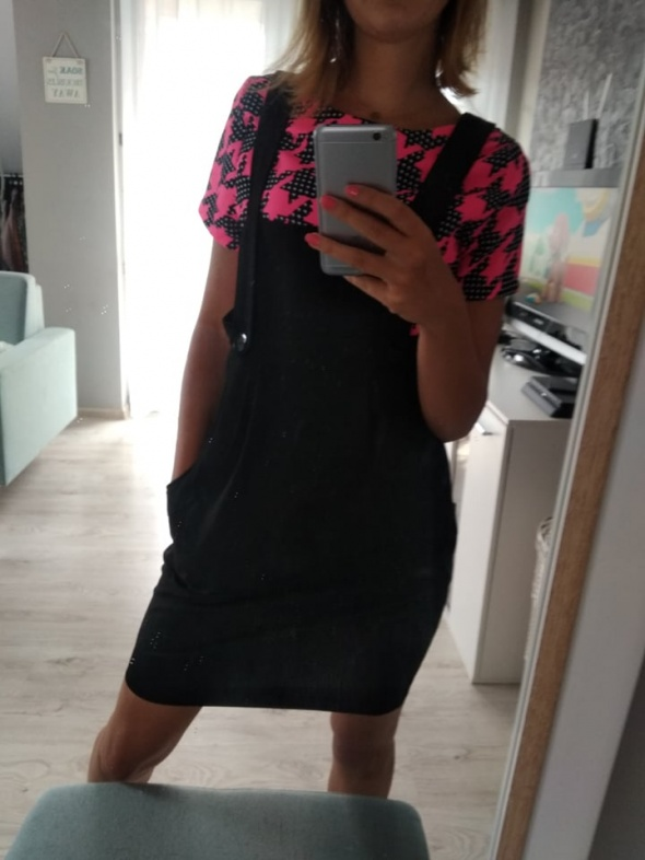 Sukienka ogrodniczka czarna S