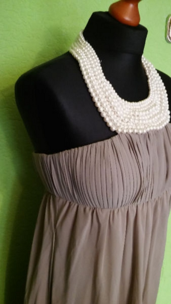Śliczna suknia beż perły 34 APART...