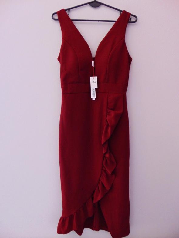 Nowa sukienka elegancka Wal G bordowa 38 M
