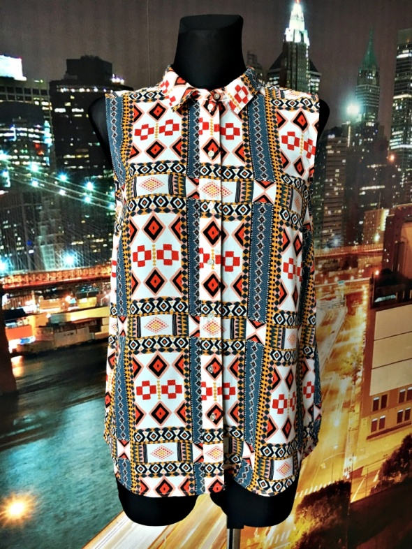 h&m bluzka mgiełka aztecki wzór modna casual 38 40