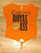 Koszulka Kiss my royal ass L pomarańczowa...