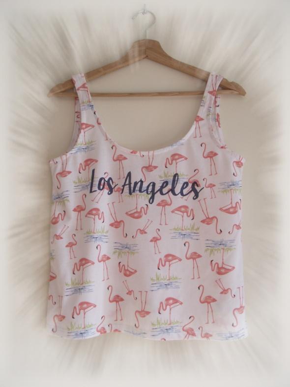 Crop top bluzka koszulka na ramiączkach flamingi C&A M L