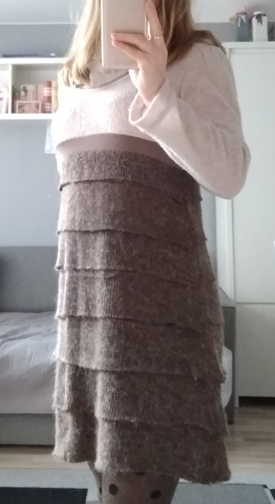 Jesienno zimowa sukienka sweterkowa XS S