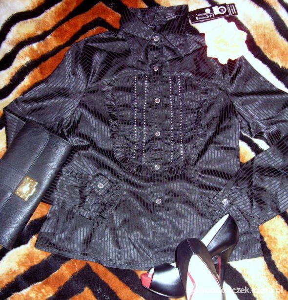Bluzka koszula czarna żabot