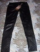 Skórzane spodnie pikowany dół a la Chanel