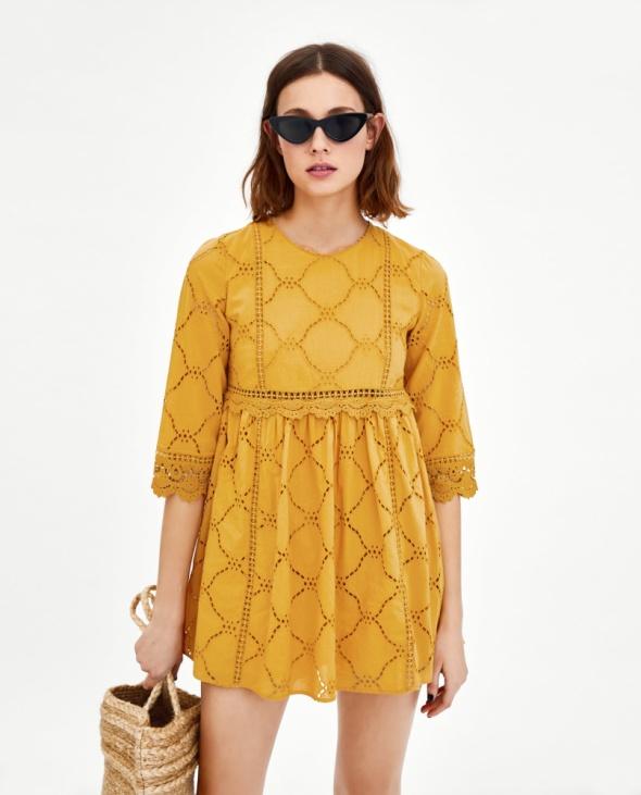 Sukienka kombinezon Zara haft musztardowa rozmiar XS w