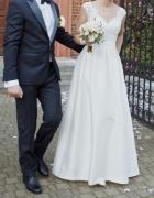 Klasyczna suknia ślubna 3638 mikado i koronka welon gratis...