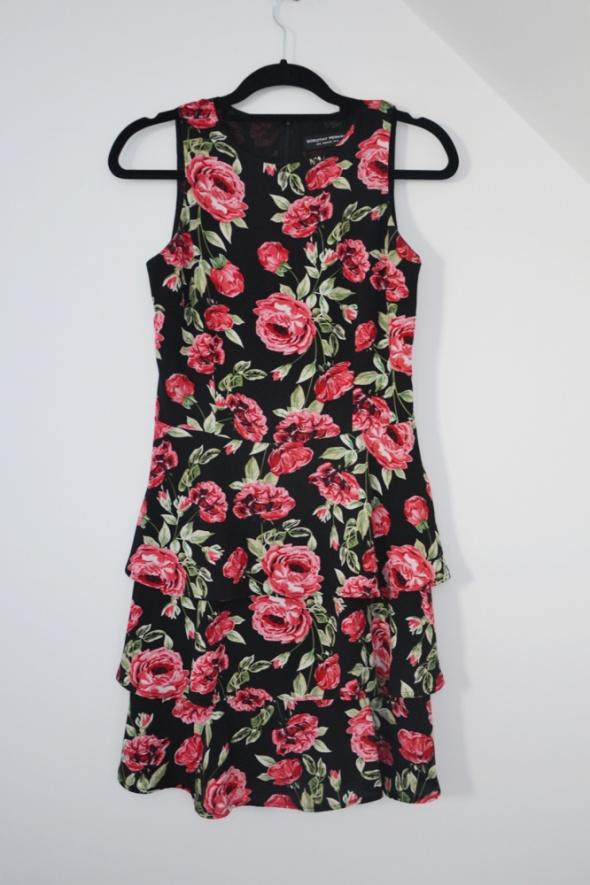 Sukienka w róże baskinka falbanki dorothy perkins...