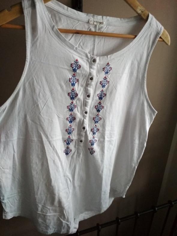 Bluzka biała medicine haftowane kwiaty guziczki folk L tunika...