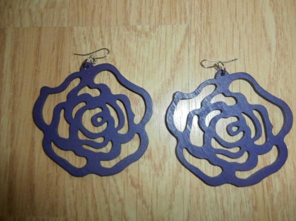 Kolczyki drewniane róże