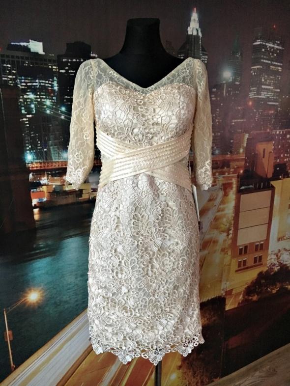 94e6c45cb8 Suknie i sukienki stacees suknia koronkowa cekiny gipiura ślub wesele nowa  36