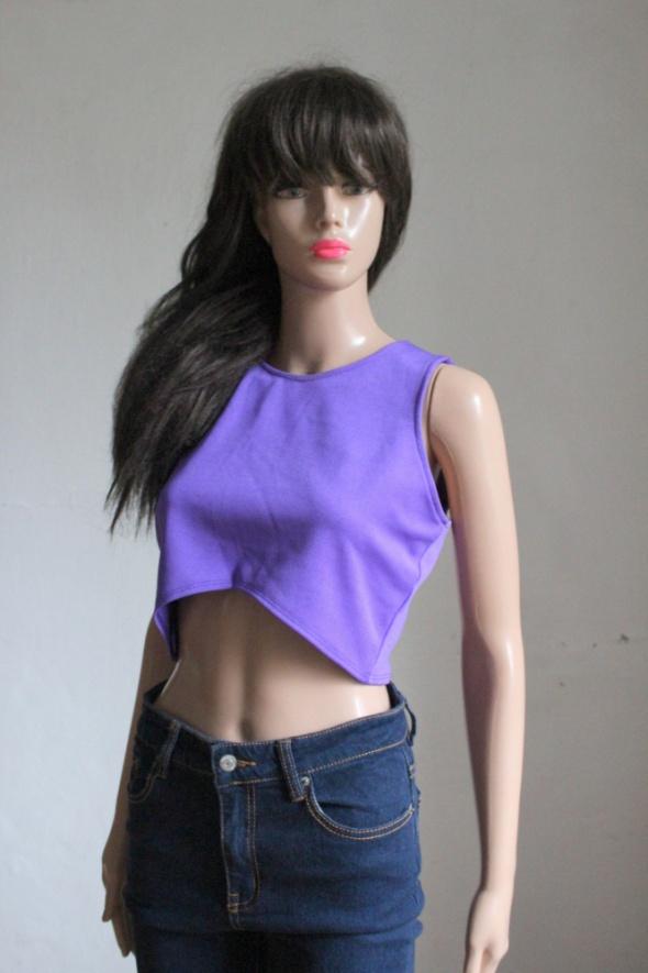 Fioletowa krótka bluzka top r L...