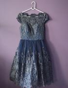 Chi Chi London sukienka granatowa MIDI 38 40 M L