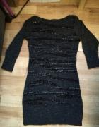 Szara ciepła sukienka XS w paski brokat