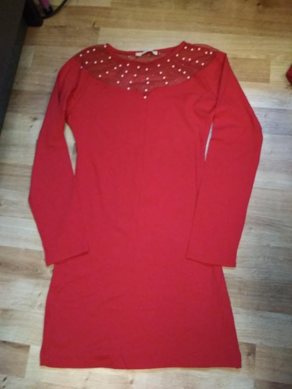 Nowa czerwona sukienka z perełkami XS