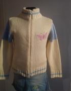 sweter 140 146 biały rozpinany...