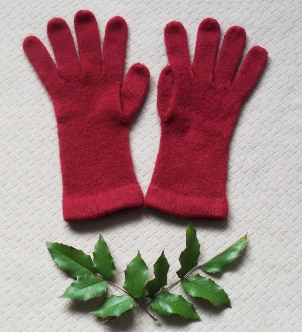 Bordowe rękawiczki damskie PLUS GRATIS