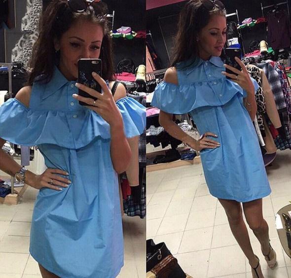 Nowość letnia sukienka odkryte ramiona lato 2016