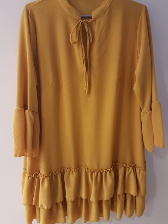 Musztardowa żółta sukienka tunika