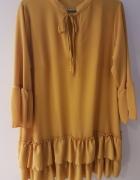 Musztardowa żółta sukienka tunika...