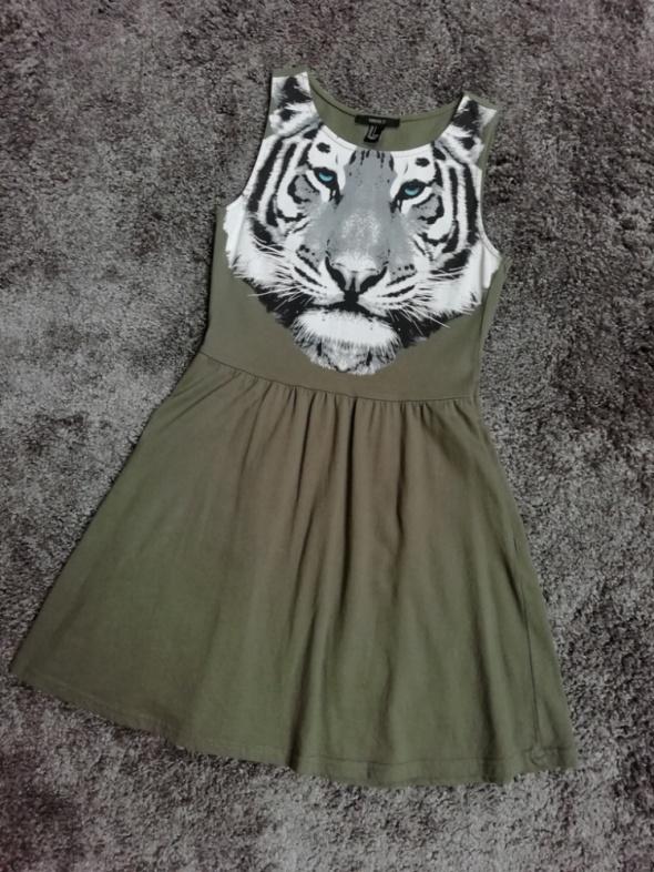 Sukienka na ramiączka tygrys khaki TANIO...