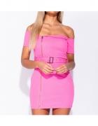 Parisian Sukienka Różowa Odkryte Ramiona Zip Biker Mini...