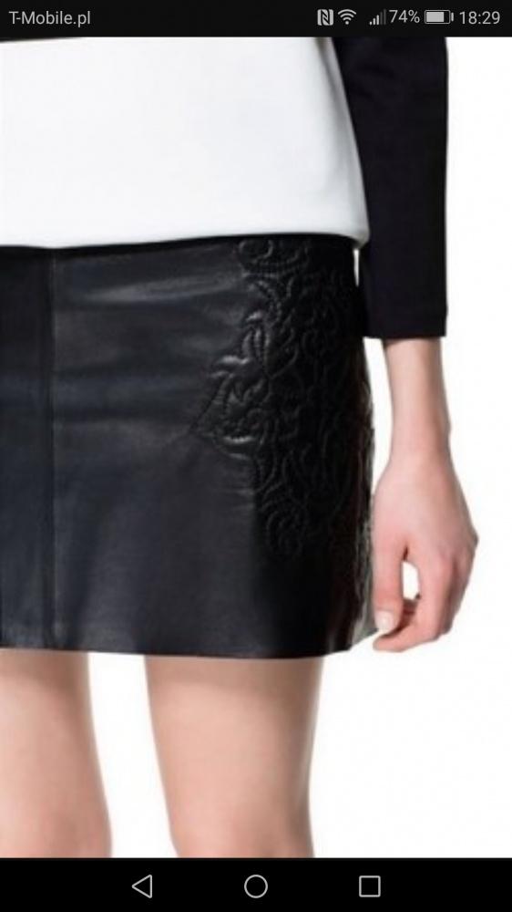 Spódnice Zara spódnica skóra naturalna 38
