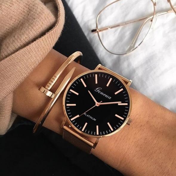 ZESTAW Zegarek na bransolecie mesh bransoletka gwóźdź różowe złoto