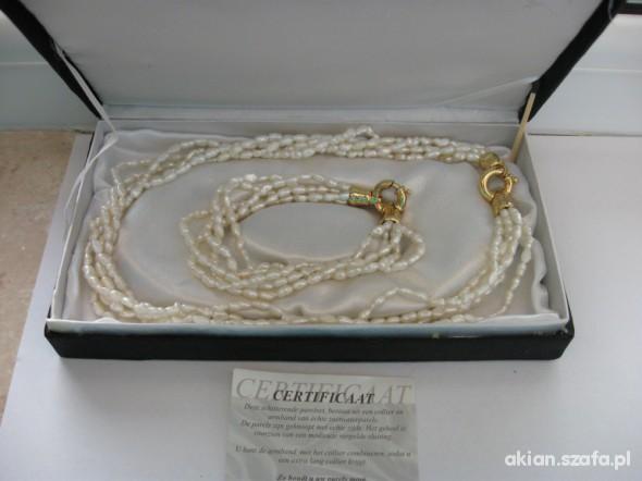 Komplet z perel naszyjnik i bransoletka