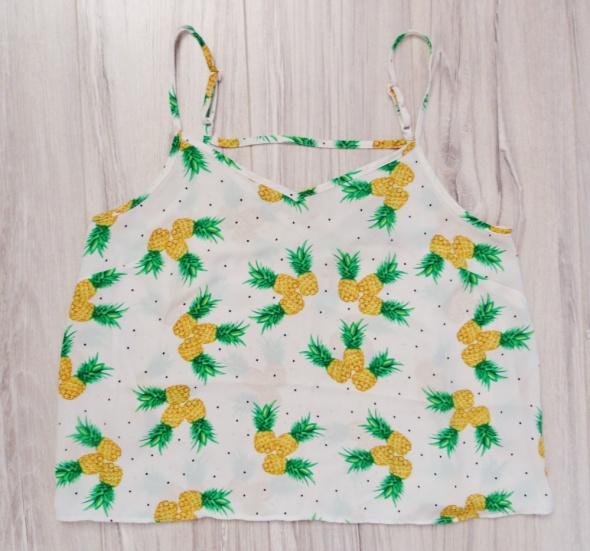 Biała zwiewna bluzka ramiączka paski ananas ananasy Atmosphere s