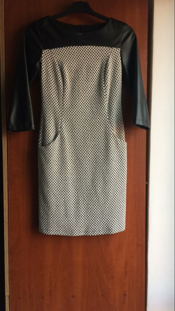 Śliczna sukienka góra imitacja skory